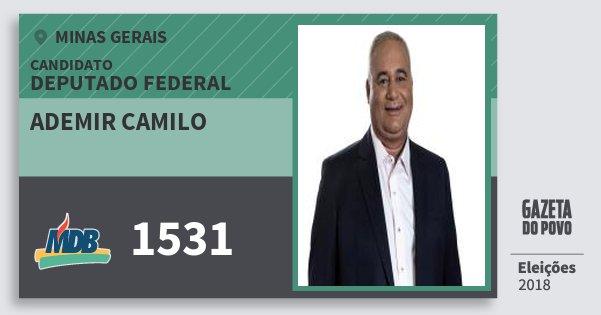 Santinho Ademir Camilo 1531 (MDB) Deputado Federal | Minas Gerais | Eleições 2018