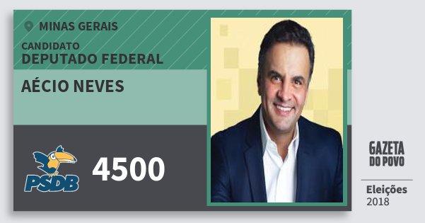 Santinho Aécio Neves 4500 (PSDB) Deputado Federal | Minas Gerais | Eleições 2018