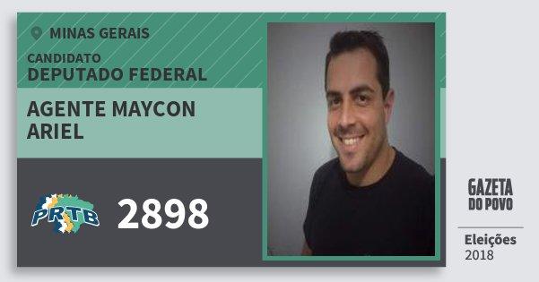 Santinho Agente Maycon Ariel 2898 (PRTB) Deputado Federal | Minas Gerais | Eleições 2018