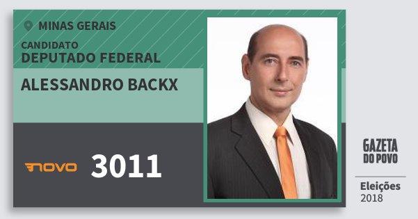 Santinho Alessandro Backx 3011 (NOVO) Deputado Federal | Minas Gerais | Eleições 2018