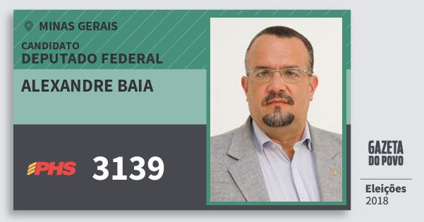Santinho Alexandre Baia 3139 (PHS) Deputado Federal | Minas Gerais | Eleições 2018