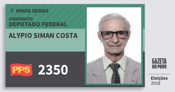 Santinho Alypio Siman Costa 2350 (PPS) Deputado Federal | Minas Gerais | Eleições 2018