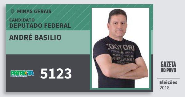 Santinho André Basilio 5123 (PATRI) Deputado Federal | Minas Gerais | Eleições 2018