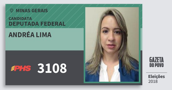 Santinho Andréa Lima 3108 (PHS) Deputada Federal | Minas Gerais | Eleições 2018