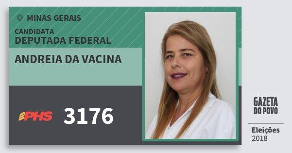 Santinho Andreia da Vacina 3176 (PHS) Deputada Federal | Minas Gerais | Eleições 2018