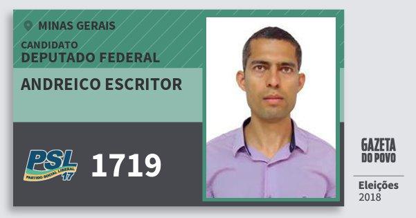 Santinho Andreico Escritor 1719 (PSL) Deputado Federal | Minas Gerais | Eleições 2018