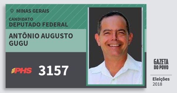 Santinho Antônio Augusto Gugu 3157 (PHS) Deputado Federal | Minas Gerais | Eleições 2018