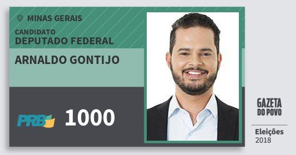 Santinho Arnaldo Gontijo 1000 (PRB) Deputado Federal | Minas Gerais | Eleições 2018