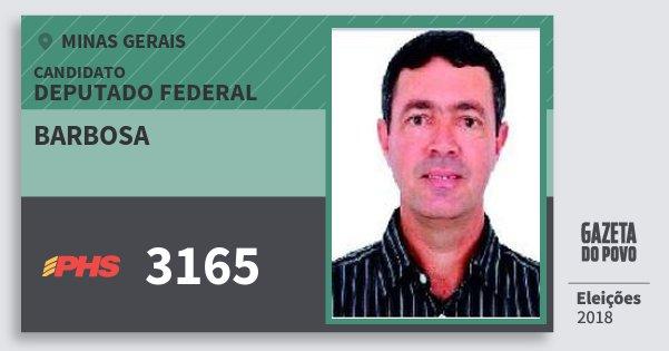 Santinho Barbosa 3165 (PHS) Deputado Federal | Minas Gerais | Eleições 2018