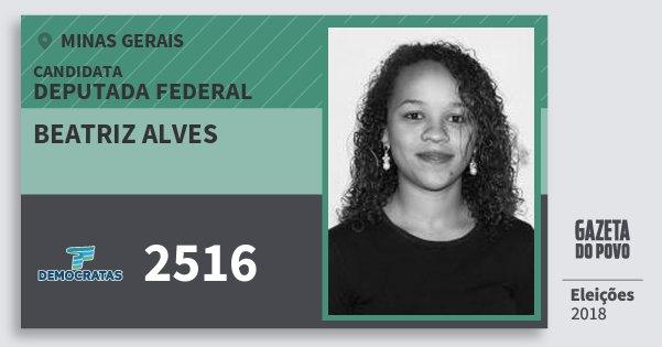 Santinho Beatriz Alves 2516 (DEM) Deputada Federal | Minas Gerais | Eleições 2018