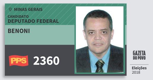 Santinho Benoni 2360 (PPS) Deputado Federal | Minas Gerais | Eleições 2018