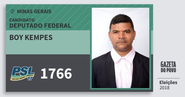 Santinho Boy Kempes 1766 (PSL) Deputado Federal | Minas Gerais | Eleições 2018