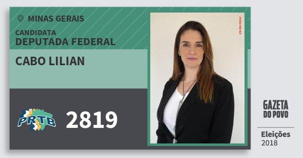 Santinho Cabo Lilian 2819 (PRTB) Deputada Federal | Minas Gerais | Eleições 2018