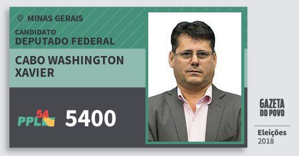 Santinho Cabo Washington Xavier 5400 (PPL) Deputado Federal | Minas Gerais | Eleições 2018