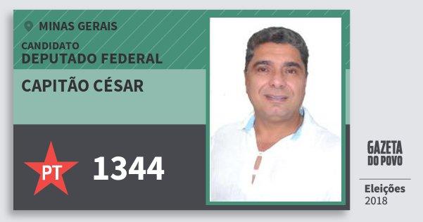 Santinho Capitão César 1344 (PT) Deputado Federal | Minas Gerais | Eleições 2018
