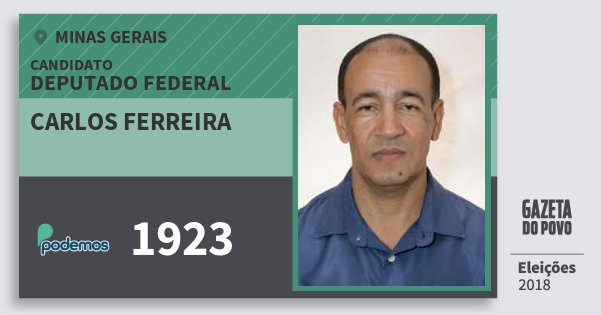Santinho Carlos Ferreira 1923 (PODE) Deputado Federal | Minas Gerais | Eleições 2018