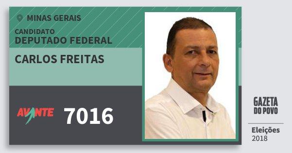 Santinho Carlos Freitas 7016 (AVANTE) Deputado Federal | Minas Gerais | Eleições 2018
