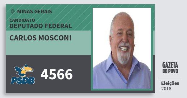 Santinho Carlos Mosconi 4566 (PSDB) Deputado Federal | Minas Gerais | Eleições 2018