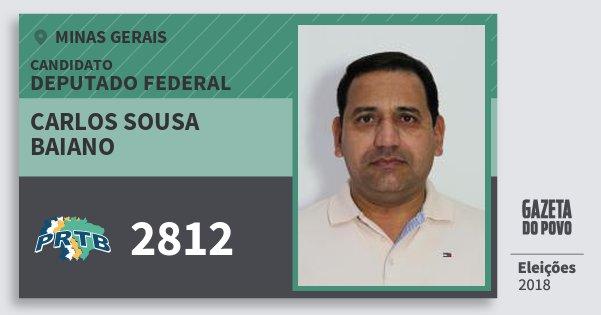 Santinho Carlos Sousa Baiano 2812 (PRTB) Deputado Federal | Minas Gerais | Eleições 2018