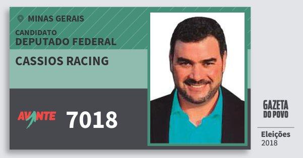 Santinho Cassios Racing 7018 (AVANTE) Deputado Federal | Minas Gerais | Eleições 2018