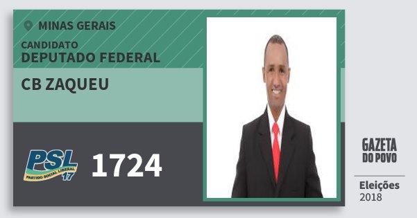 Santinho Cb Zaqueu 1724 (PSL) Deputado Federal | Minas Gerais | Eleições 2018