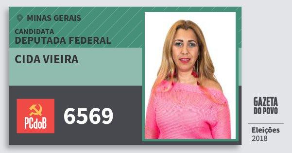 Santinho Cida Vieira 6569 (PC do B) Deputada Federal | Minas Gerais | Eleições 2018