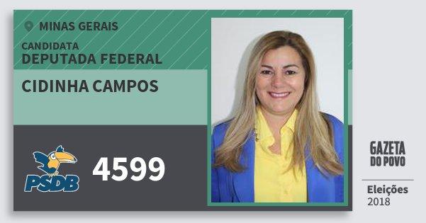 Santinho Cidinha Campos 4599 (PSDB) Deputada Federal | Minas Gerais | Eleições 2018