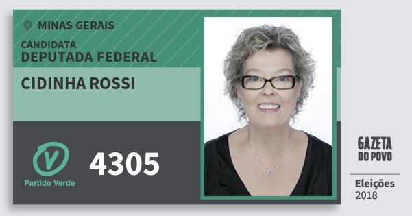Santinho Cidinha Rossi 4305 (PV) Deputada Federal | Minas Gerais | Eleições 2018