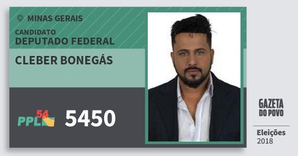 Santinho Cleber Bonegás 5450 (PPL) Deputado Federal | Minas Gerais | Eleições 2018