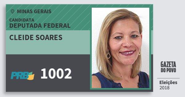 Santinho Cleide Soares 1002 (PRB) Deputada Federal | Minas Gerais | Eleições 2018
