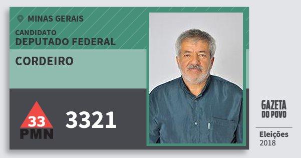 Santinho Cordeiro 3321 (PMN) Deputado Federal | Minas Gerais | Eleições 2018