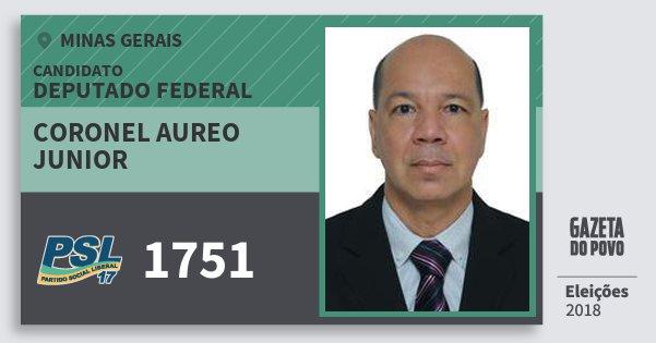 Santinho Coronel Aureo Junior 1751 (PSL) Deputado Federal | Minas Gerais | Eleições 2018
