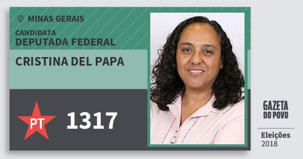 Santinho Cristina del Papa 1317 (PT) Deputada Federal | Minas Gerais | Eleições 2018