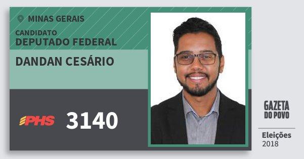 Santinho Dandan Cesário 3140 (PHS) Deputado Federal | Minas Gerais | Eleições 2018