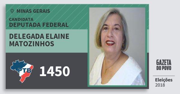 Santinho Delegada Elaine Matozinhos 1450 (PTB) Deputada Federal | Minas Gerais | Eleições 2018