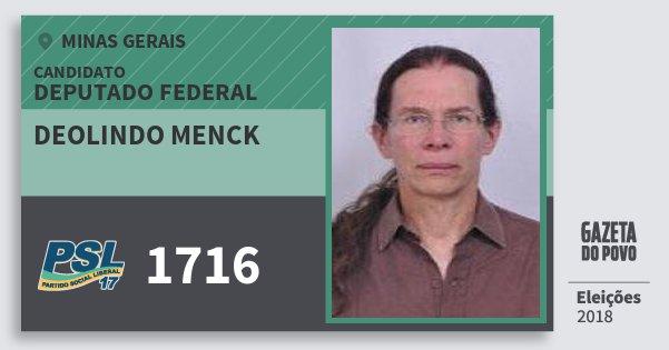 Santinho Deolindo Menck 1716 (PSL) Deputado Federal | Minas Gerais | Eleições 2018