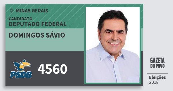 Santinho Domingos Sávio 4560 (PSDB) Deputado Federal | Minas Gerais | Eleições 2018