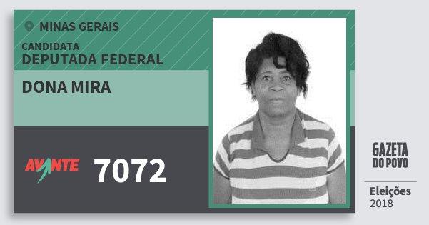 Santinho Dona Mira 7072 (AVANTE) Deputada Federal | Minas Gerais | Eleições 2018