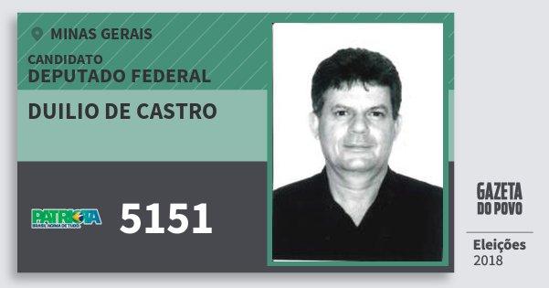 Santinho Duilio de Castro 5151 (PATRI) Deputado Federal | Minas Gerais | Eleições 2018