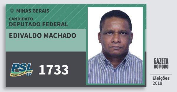 Santinho Edivaldo Machado 1733 (PSL) Deputado Federal | Minas Gerais | Eleições 2018