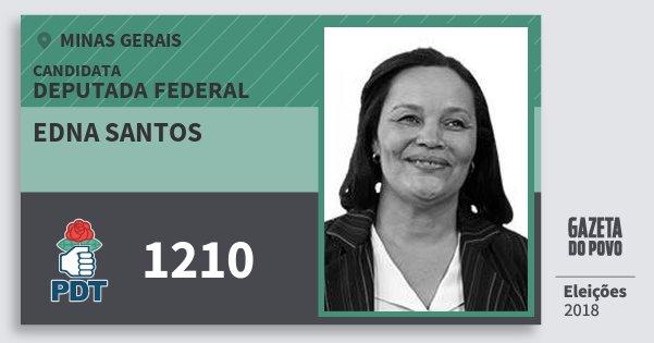 Santinho Edna Santos 1210 (PDT) Deputada Federal | Minas Gerais | Eleições 2018