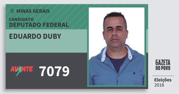 Santinho Eduardo Duby 7079 (AVANTE) Deputado Federal | Minas Gerais | Eleições 2018
