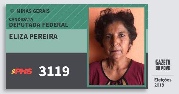Santinho Eliza Pereira 3119 (PHS) Deputada Federal | Minas Gerais | Eleições 2018