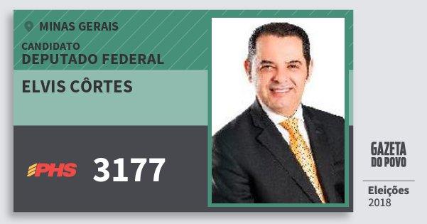 Santinho Elvis Côrtes 3177 (PHS) Deputado Federal | Minas Gerais | Eleições 2018