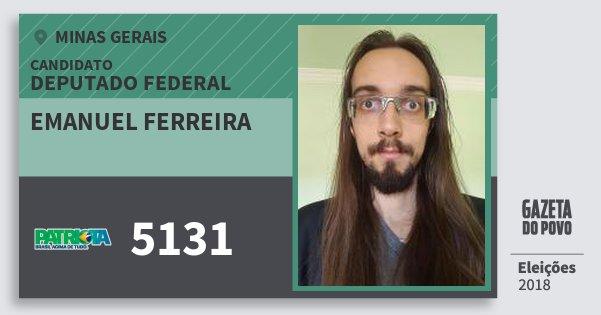 Santinho Emanuel Ferreira 5131 (PATRI) Deputado Federal | Minas Gerais | Eleições 2018