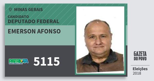 Santinho Emerson Afonso 5115 (PATRI) Deputado Federal | Minas Gerais | Eleições 2018