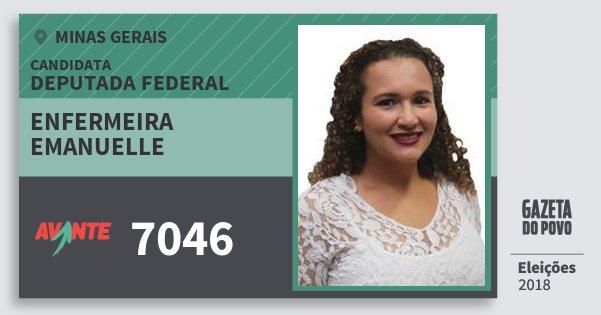 Santinho Enfermeira Emanuelle 7046 (AVANTE) Deputada Federal | Minas Gerais | Eleições 2018