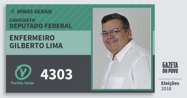 Santinho Enfermeiro Gilberto Lima 4303 (PV) Deputado Federal | Minas Gerais | Eleições 2018