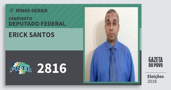 Santinho Erick Santos 2816 (PRTB) Deputado Federal | Minas Gerais | Eleições 2018