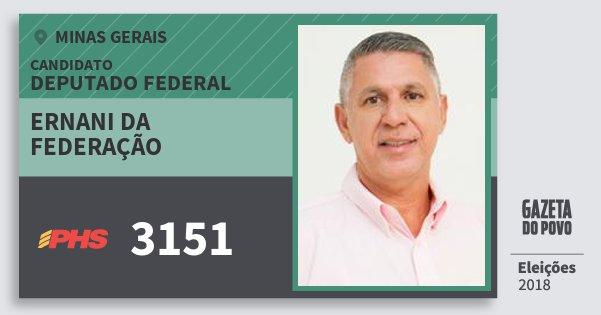 Santinho Ernani da Federação 3151 (PHS) Deputado Federal | Minas Gerais | Eleições 2018